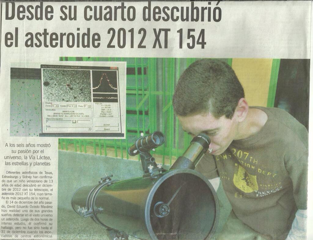 2013 Diario El Impulso David Oviedo Niño Astronomo